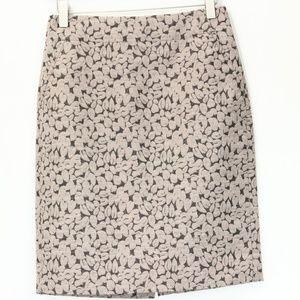 J. Crew Pencil Skirt sz 0 Vineyard jaquard print